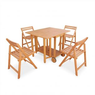 Merida Merida foldable wooden garden furniture, drop-leaf rectangular table 100x82cm with 4 foldable chairs