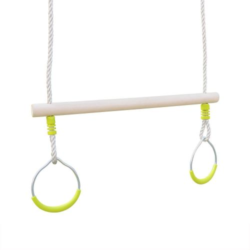 Kornog Wood trapeze with a pair of metal rings for 2 to 2.5m frame, swing set piece, accessory
