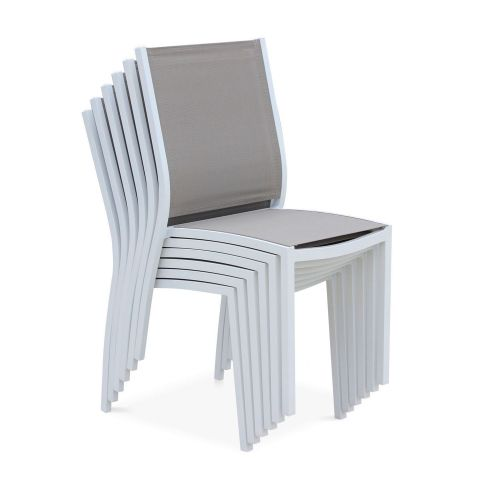 Orlando chairs Set of 2 chairs - Orlando White/Taupe- In white aluminium and taupe textilene