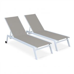 Elsa Set of 2 ELSA sun loungers in white aluminium and taupe textilene, adjustable loungers with wheels