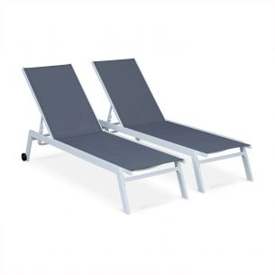 Elsa Set of 2 ELSA sun loungers in white aluminium and grey textilene, adjustable loungers with wheels