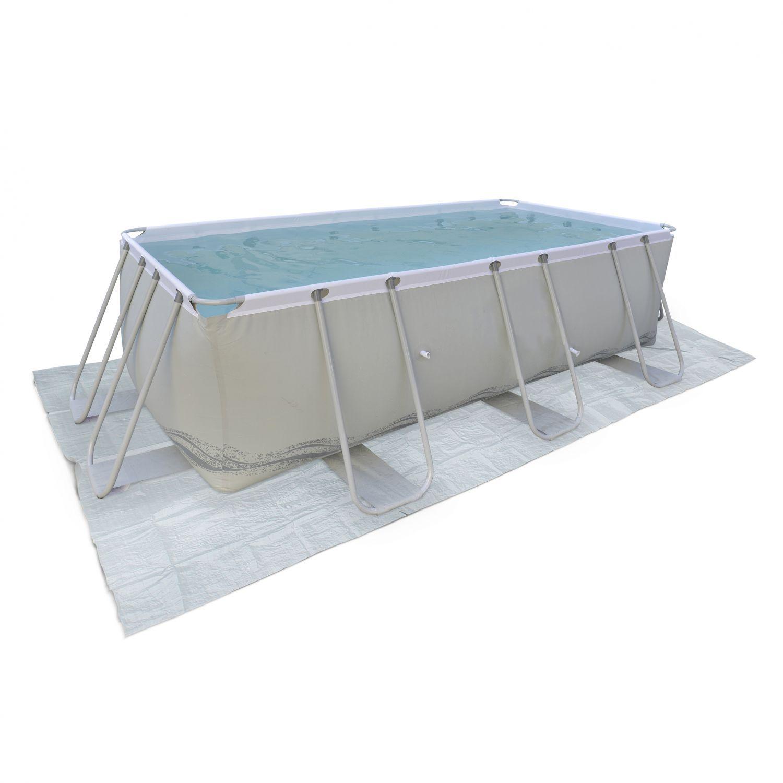 Tapis de sol gris 8 x 8 cm pour piscine rectangulaire hors sol