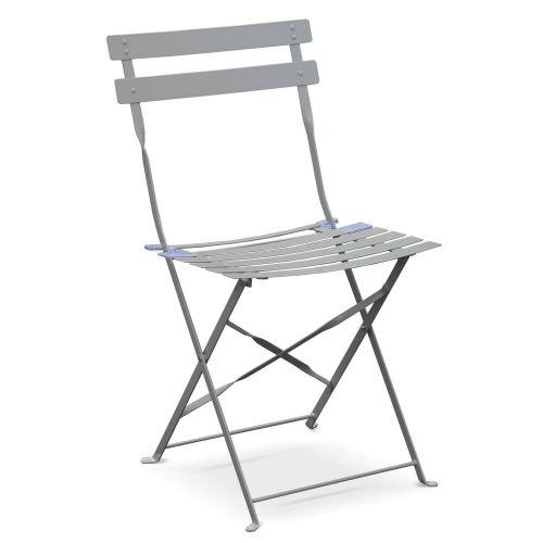 Emilia couleur Salon de jardin bistrot pliable Emilia rond gris taupe, table ⌀60cm avec deux chaises pliantes, acier thermolaqué
