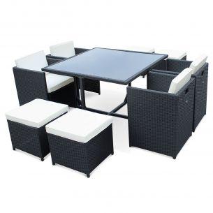 Vasto 8 Salon de jardin Vasto Noir table en résine tressée 4 à 8 places, fauteuils encastrables
