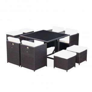 Vasto 8 Salon de jardin Vasto Chocolat table en résine tressée 4 à 8 places, fauteuils encastrables