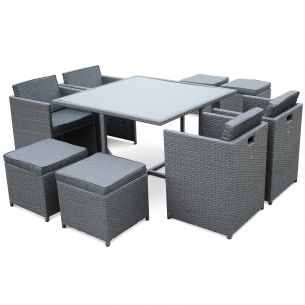 Vasto 8 Salon de jardin Vasto Gris table en résine tressée 4 à 8 places, fauteuils encastrables