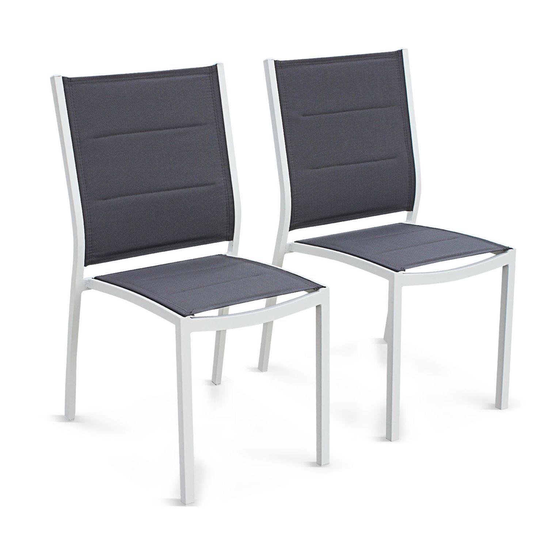 Lot de 2 chaises Chicago en aluminium blanc et textilène