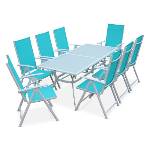 Salon de jardin en aluminium table 8 places blanc - Salon de jardin aluminium 8 places ...