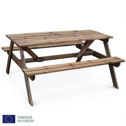 Padano Table de pique nique Padano 150cm rectangulaire avec bancs, salon de jardin en bois