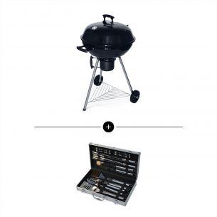 Barbecue charbon Georges + mallette d'accessoires Barbecue charbon de bois Georges + mallette d'ustensiles 18 accessoires