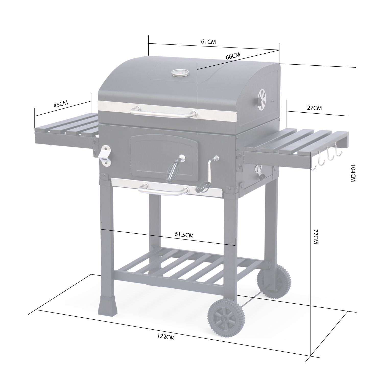 Barbecue Grill Charbon De Bois Bernard Noir Fumoir Avec