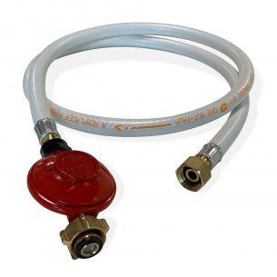 Flexible + détendeur propane Kit Tuyau flexible de gaz 1,5 m à embouts mécaniques + Détendeur Propane 37mbar 1,5kg/h - Normes NF