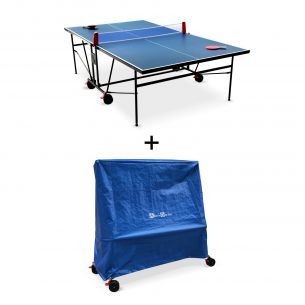 Table de ping pong INDOOR avec sa housse Table de ping pong INDOOR bleue avec sa housse- table pliable avec 2 raquettes et 3 balles, pour utilisation intérieure