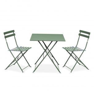 Emilia pastel Salon de jardin bistrot pliable Emilia carré vert de gris, avec deux chaises pliantes, acier thermolaqué