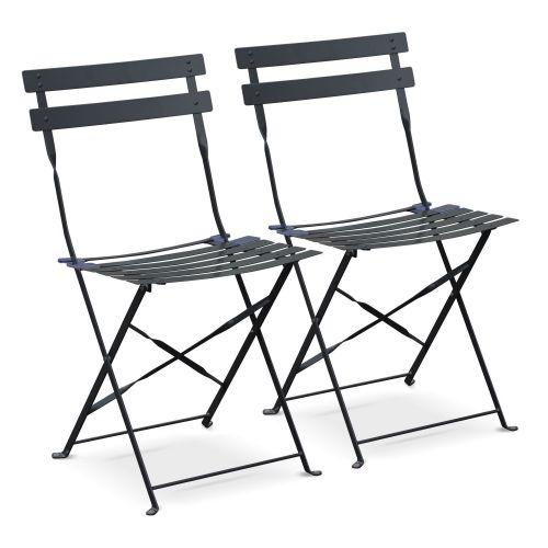 Chaises Emilia Couleur Lot de 2 chaises de jardin pliables - Emilia anthracite - Acier thermolaqué