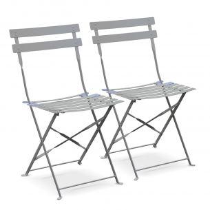 Chaises Emilia Couleur Lot de 2 chaises de jardin pliables - Emilia gris taupe - Acier thermolaqué