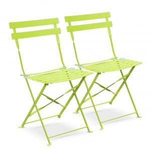 Chaises Emilia Couleur Lot de 2 chaises de jardin pliables - Emilia vertes - Acier thermolaqué