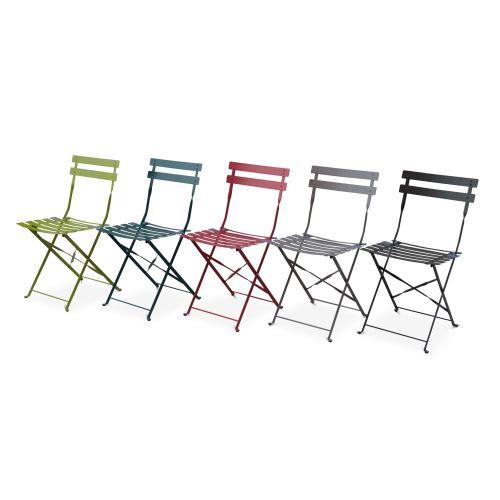 Chaises Emilia Couleur Lot de 2 chaises de jardin pliables - Emilia rouge framboise - Acier thermolaqué