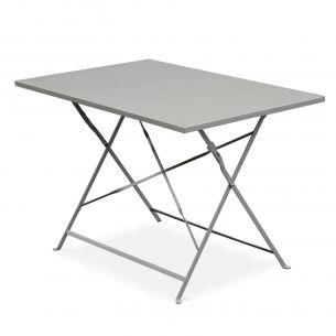 Emilia 110x70cm Couleur Table de jardin bistrot pliable - Emilia rectangle gris taupe- Table rectangle 110x70cm en acier thermolaqué