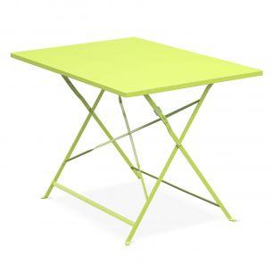 Emilia 110x70cm Couleur Table de jardin bistrot pliable - Emilia rectangle verte- Table rectangle 110x70cm en acier thermolaqué