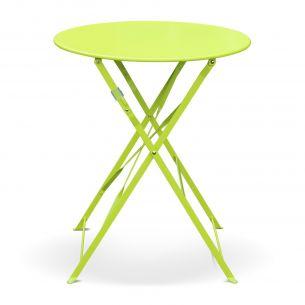 Emilia 60cm Couleur Table de jardin bistrot pliable - Emilia ronde verte- Table ronde Ø60cm en acier thermolaqué