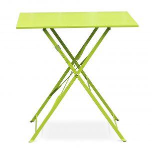 Emilia 70x70cm Couleur Table jardin bistrot pliable - Emilia carrée verte- Table carrée 70x70cm en acier thermolaqué
