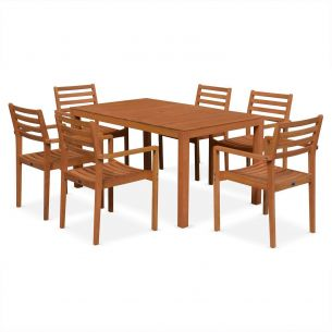Cadaqués Cadaques wooden garden table set, 150cm rectangular table, 6 chairs with armrests, made from FSC-certified eucalyptus wood