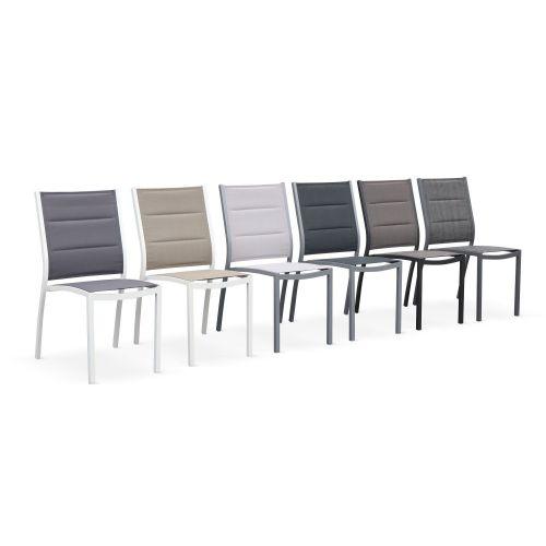 Chaises Chicago Lot de 2 chaises Chicago en aluminium et textilène gris clair empilables