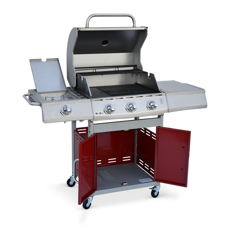 Barbacoa de gas, cocina de exterior, Rojo, 3 quemadores ...