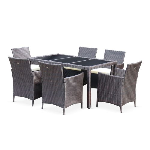 Tavola 6 Tavola 6, garden table and 6 chairs in rattan, brown