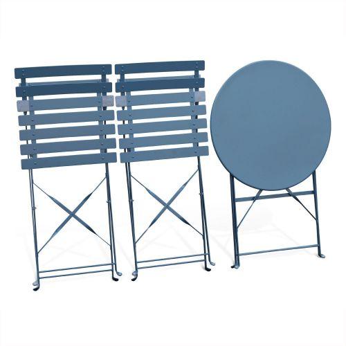 Salon De Jardin Bistrot Pliable Emilia Rond Bleu Grise Table 60cm Avec Deux Chaises Pliantes Acier Thermolaque