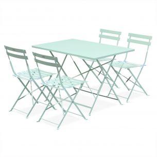 Emilia pastel Salon de jardin bistrot pliable Emilia rectangulaire vert d'eau,avec quatre chaises pliantes, acier thermolaqué