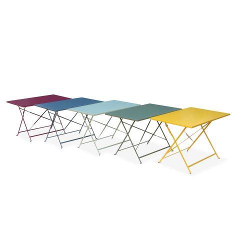 Emilia pastel Salon de jardin bistrot pliable Emilia rectangulaire Jaune avec quatre chaises pliantes, acier thermolaqué