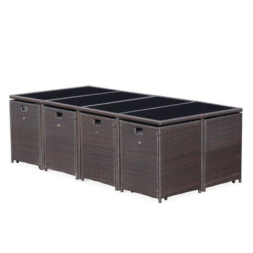 Cubo 12 Salon de jardin Cubo Chocolat table en résine tressée 8 à 12 places, fauteuils encastrables