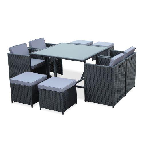Salon De Jardin Vasto Noir Table En Resine Tressee 4 A 8 Places