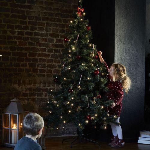 Sapin de Noël artificiel de 180 cm avec guirlande lumineuse et
