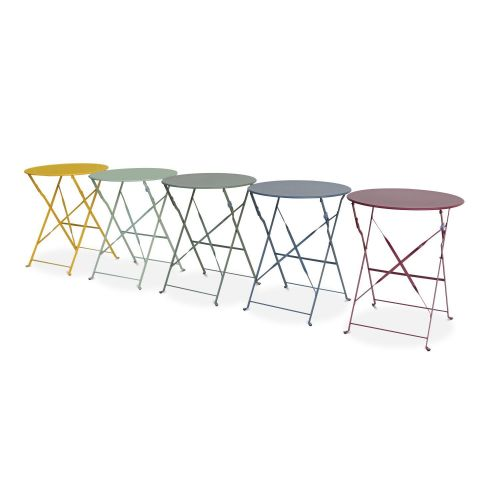 Emilia Pastel Foldable sage green Emilia bistro garden set, Ø60cm round table with two foldable chairs, thermo-lacquered steel