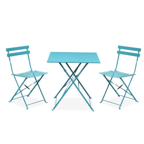 Emilia Colour Emilia foldable turquoise bistro garden set, square table with two foldable chairs, thermo-lacquered steel