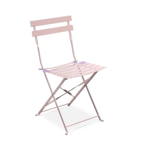 Emilia Emilia foldable pale pink bistro garden set, square table with two foldable chairs, thermo-lacquered steel