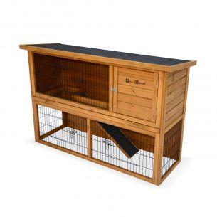 REX Clapier en bois REX pour lapin et autres rongeurs, 4 lapins, cage à lapin avec enclos, espace intérieur / extérieur