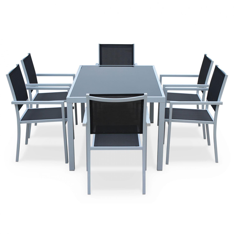 Set da pranzo da giardino, in alluminio, tavolo, 150 cm, 6 ...