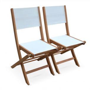Almeria Lotto di 2 sedie da giardino in legno, modello: Almeria, 2 sedie pieghevoli, in eucalipto FSC, colore: Bianco