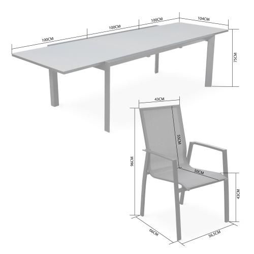 Tavolo Allungabile Per Giardino.Set Da Pranzo Da Giardino Allungabile Alluminio Fino 300cm 8 Poltrone