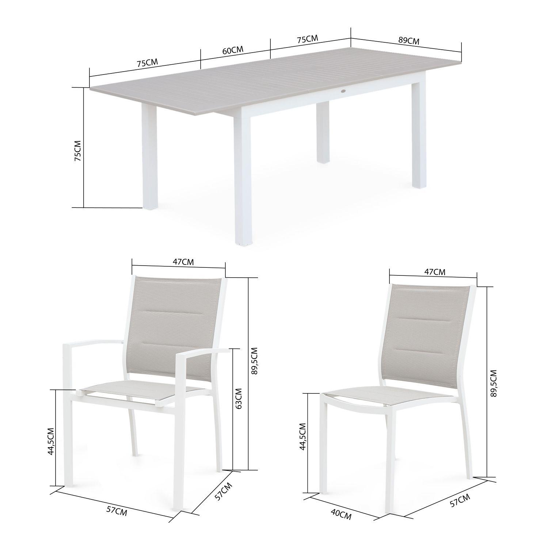 Tavoli Allungabili In Alluminio.Set Da Pranzo Da Giardino Tavolo Allungabile X6 Alluminio Textilene