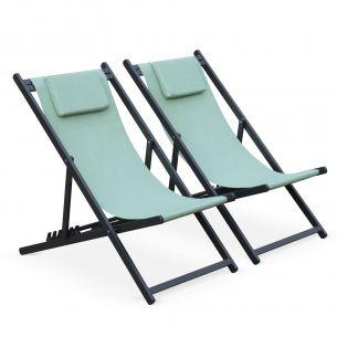 Gaia Lot de 2 bains de soleil - Gaia taupe - en aluminium anthracite et textilene vert de gris avec coussin repose tête