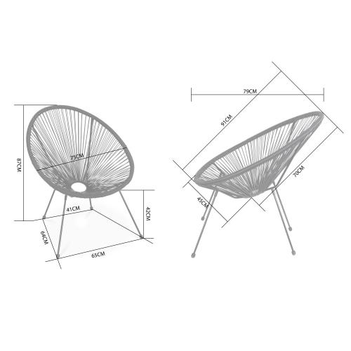 Plastic Design Stoelen.Set Van 2 Design Stoelen Ei Vormig Acapulco Zwart Stoelen 4