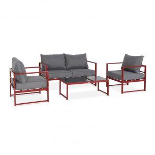 Balea Salon de jardin 4 places - Baléa Rouge et Gris chiné - 4 éléments en aluminium, coussins épais, design
