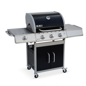 Richelieu Richelieu stainless steel gas barbecue, 4 burners, including 1 side burner, 14kW, grill and plancha side, outdoor kitchen