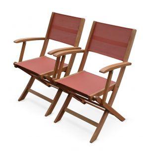 Almeria Set of 2 Terracotta Almeria armchairs in wood, 2 oiled FSC eucalyptus and textilene folding armchairs