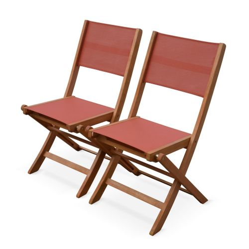 Almeria Set of 2 Terracotta Almeria garden chairs in wood, 2 oiled FSC eucalyptus and textilene folding chairs